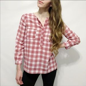Joie Nepal Lilac Plaid Crepe Henley Tunic Top